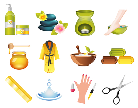 hair mask: Beauty and Spa Relax Icons set. Hairdresser and massage parlor icons