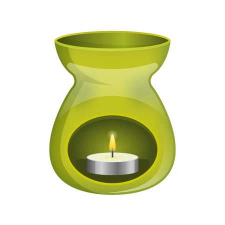 oil lamp: Green aromatherapy lamp oil burner spa icon flat. Illustration