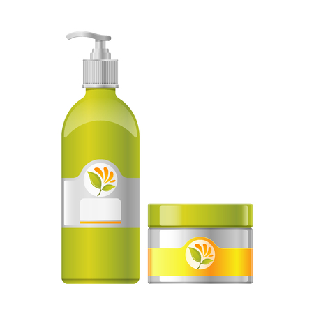 Spa salon set of beauty products flat icon Illustration