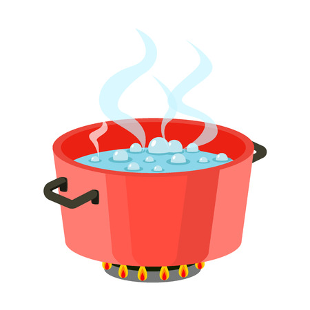 Água fervendo na panela Panela vermelha no fogão com água e vapor Vector de design plano Ilustración de vector