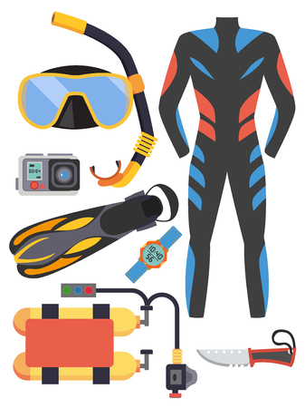 Snorkeling and scuba diving set of elements. Scuba-diving gear isolated. Illustration