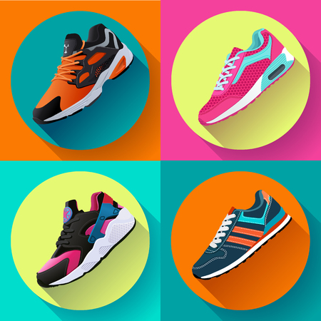 Fitness sneakers shoes for training running shoe flat design with long shadow. Sport shoes set Иллюстрация