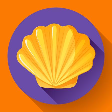 mollusk: Gold sea shell flat vector logo Seafood flat icon.