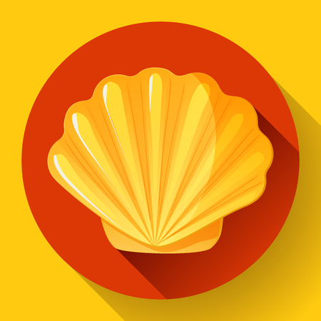 mollusk: gold sea shell flat vector logo Seafood flat icon. Illustration