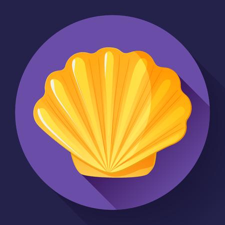 gold sea shell flat vector logo Seafood flat icon. Ilustrace