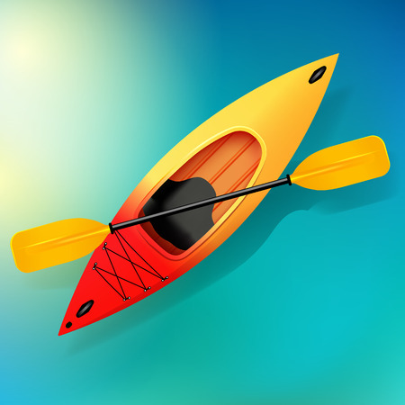 Kayak e pagaia Vettore sull'illustrazione dell'acqua delle attività all'aperto. Kayak rosso giallo, kayak da mare Archivio Fotografico - 79937274