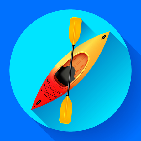 Kayak and paddle icon vector. Outdoor activities. Yellow red kayak, sea kayak flat icon Çizim