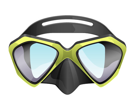 rubber tube: Professional diving mask snorkeling vector isolated on white background