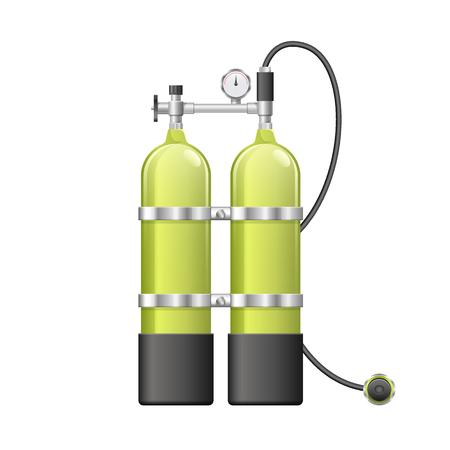 Aqualang or Scuba Oxygen Balloons. Vector illustration of yellow Diving Equipment. Underwater sport item