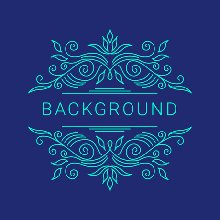 refined: Elegant blue floral frame. Lineart vector illustration with text