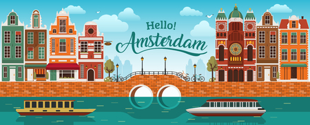 Flat Amsterdam panorama Holland, River sea canal channel bridge boat embankment bicycle multi color street. Vettoriali
