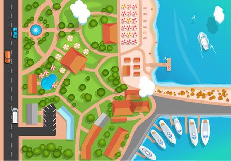 Vista superior de la ciudad de vacaciones, parque, carretera, automóviles, puerto deportivo del mar y yates amarrados. Ilustración de Vector de estilo plano. Ilustración de vector