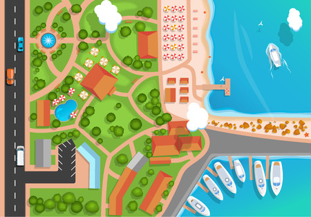Top view of the resort town, park, road, cars, sea marina and moored yachts. Flat style Vector illustration.