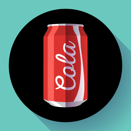 swill: Flat cola can soda can vector illustration Cola can vector icon