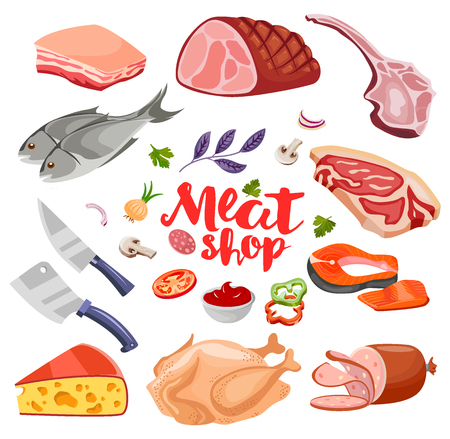 Meat flavoring and cheese flat food icons set vector. Fresh meat icon