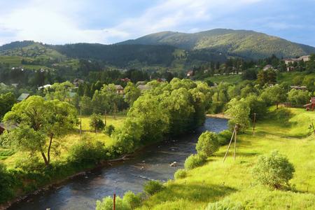 Prut river in village Vorohta Ukraine. Carpathian Mountains, wild mountain landscape Ukraine, Vorohta