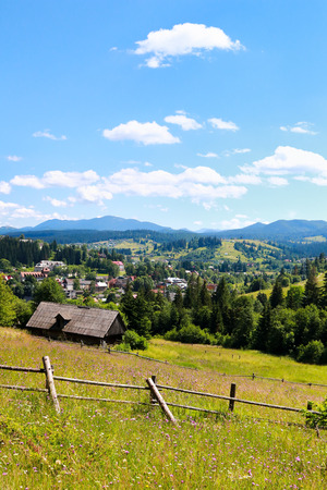 Village Vorohta Ukraine. Carpathian Mountains, wild mountain landscape Ukraine, Vorohta