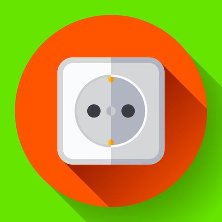 Electric white socket icon. Flat style