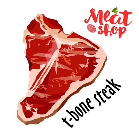 Raw fresh meat t-bone steak vector isolated on white background.