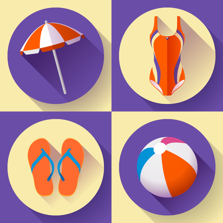 Collection of Summer icons Illustration