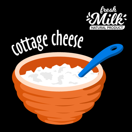 Homemade cottage cheese in a bowl vector icon Banco de Imagens - 88766222