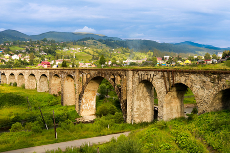 Old railway bridge, old viaduct Vorohta, Ukraine. Carpathian Mountains, wild mountain landscape Ukraine, Vorohta