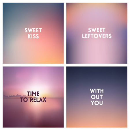 Abstract vector fog blurred square sky clouds with love quotes background