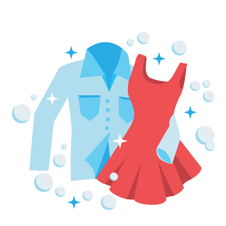 Clean Laundry shirt and dress embrace, concept for love and romance Illustration