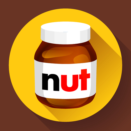 Sweet chocolate hazelnut butter can icon flat