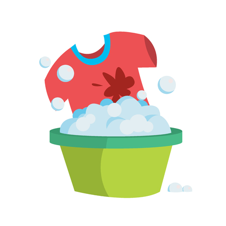 T-shirt in a basin with soapy water is washed by hands. Illustration