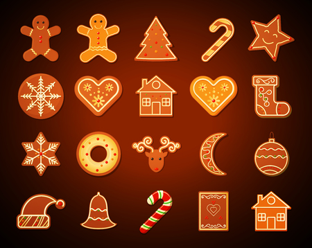 Christmas Gingerbread shortbread Cookies set on dark background