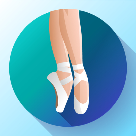 White ballet pointed shoes flat Vector illustration of gym ballet shoes standing on tiptoes.