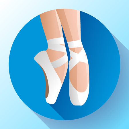 Ballet icon white pointed female ballet shoes flat Vector illustration of gym ballet shoes standing on tiptoes. Illustration