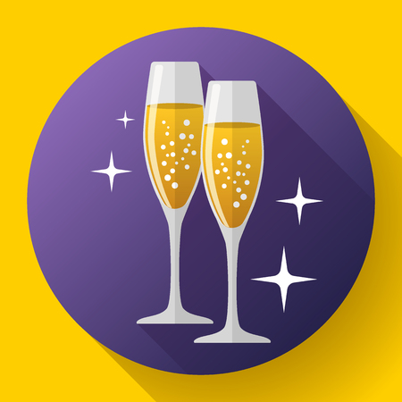 Two glasses of champagne Icon with sparkles