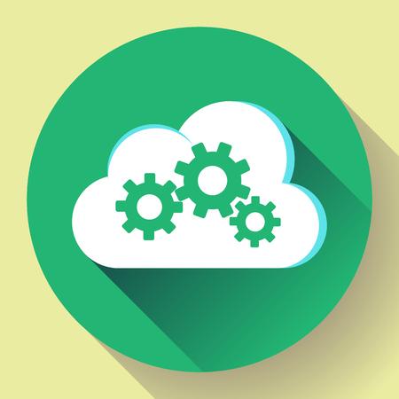 Cloud Logo Cloud Services Cloud Computing Gear Logo Vector