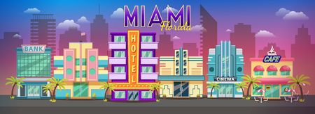 Vecchio panorama sullo skyline di Miami al tramonto paesaggio urbano retrò città, sfondo retrò Skyline di Miami. Archivio Fotografico - 93655992