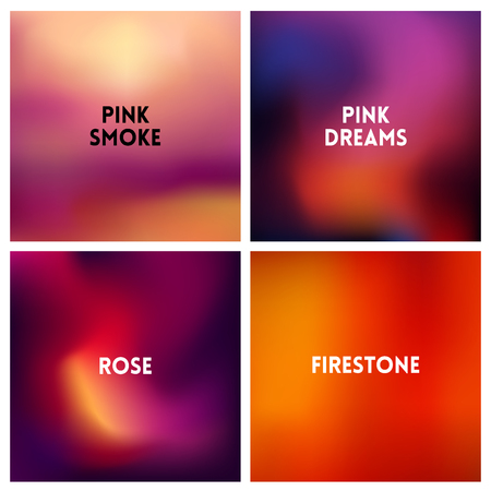 Set of abstract red pink blurred background.