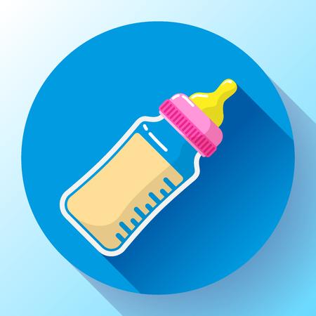 Baby milk bottle flat vector icon.