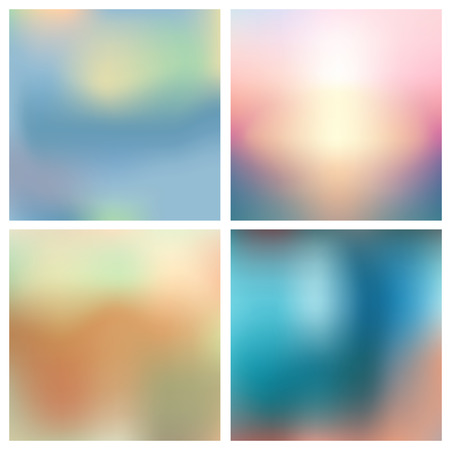 Abstract vector multicolored blurred background color set. Square blurred backgrounds set - sky clouds sea ocean beach colors