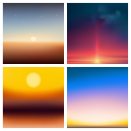 Abstract vector multicolored blurred background colors set. Square blurred backgrounds set - sky clouds sea ocean beach colors