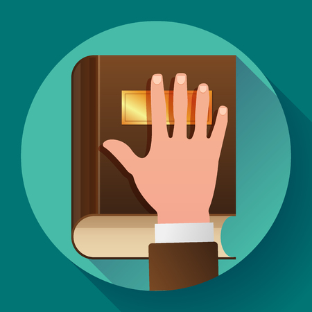 Hand on Constitution as Oath Concept Icon