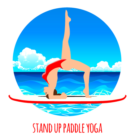 Woman practicing SUP yoga on a paddle board in the sea ocean Vector illustration. Sea background
