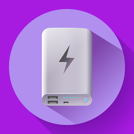 Power bank icon, portable charging device. Vector illustration Illustration