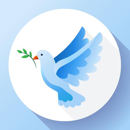 Blaue Taube mit Zweigfriedensikone. Fliegender blauer Vogel und Friedenskonzept. Pazifismus-Konzept. Frei fliegendes Symbol. Taubenikone - Symbol Gottes, Friede auf Erden, göttliche Vorsehung, Engel Gottes. Vektorgrafik