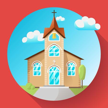 Icono de edificio de iglesia de vector plano