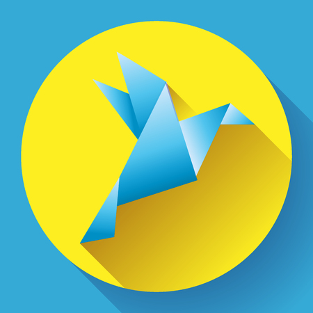 Blue origami bird art icon Ilustracja