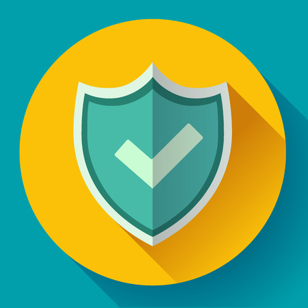 Shield icon - Protection symbol. Flat design style.  イラスト・ベクター素材