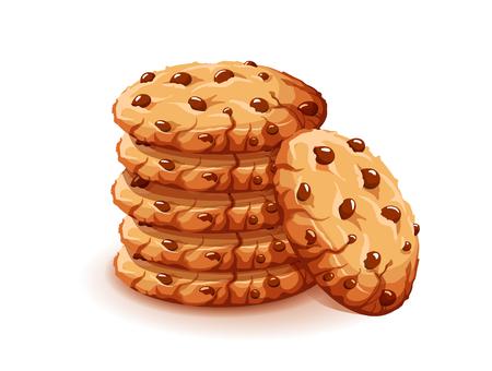 Vektor-Schokoladen-Krümel-Chips isoliert auf weißem Hintergrund. Hausgemachte Schokoladenkekse-Vektorillustration Vektorgrafik