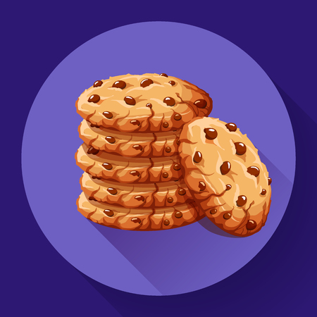 Vector chocolate crumbs chips iicon. Homemade choco chip cookies vector illustration