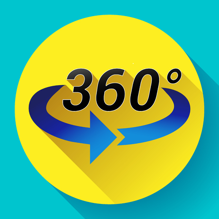 Flat 360 Degree View Related Color Vector Icon.
